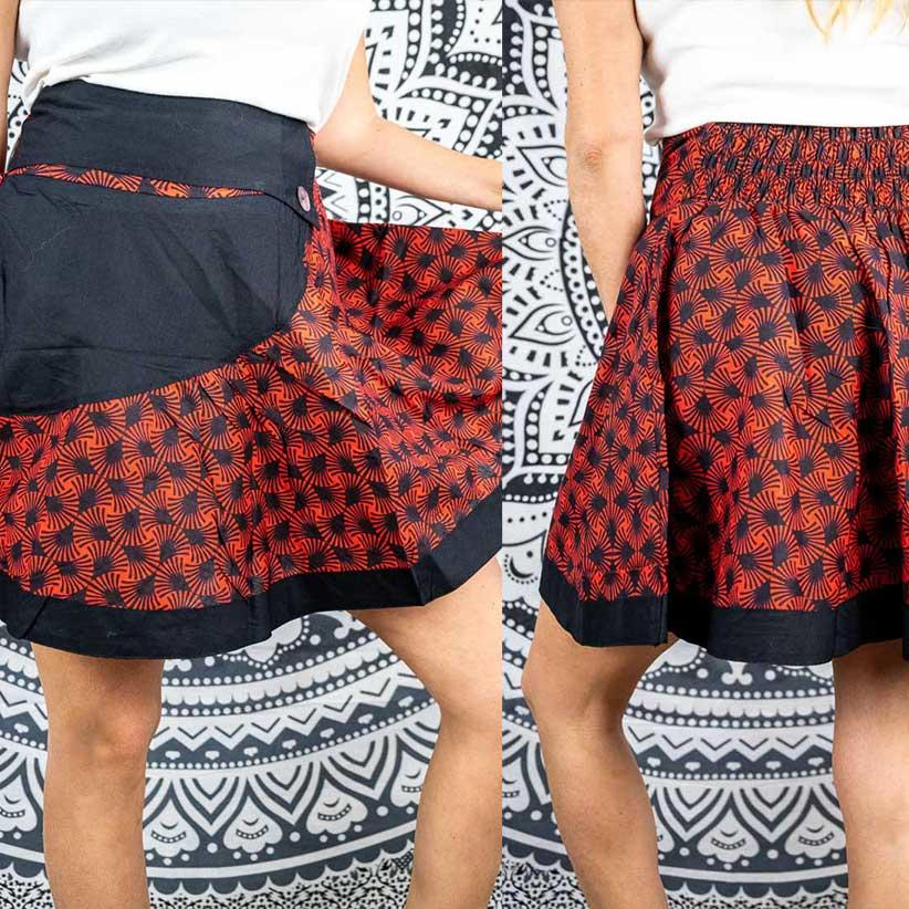 Short wheel skirt Vani - black & red