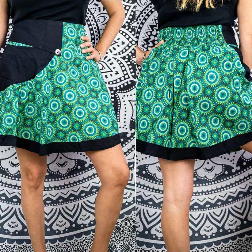 Falda corta a rueda Vani - negro y verde