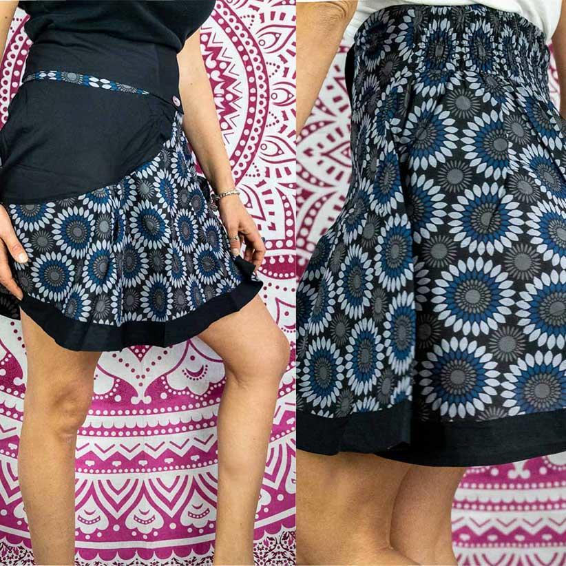 Short wheel skirt Vani - flowered blue gray