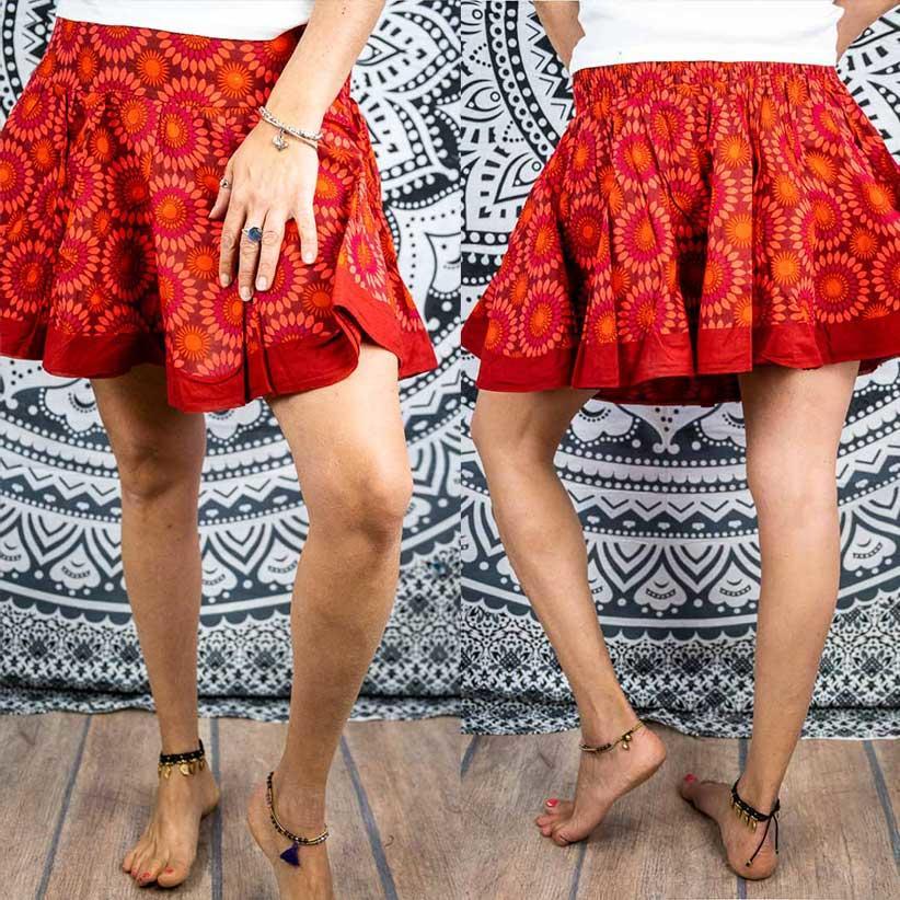 Minifalda acordeón Hita - rojo florido