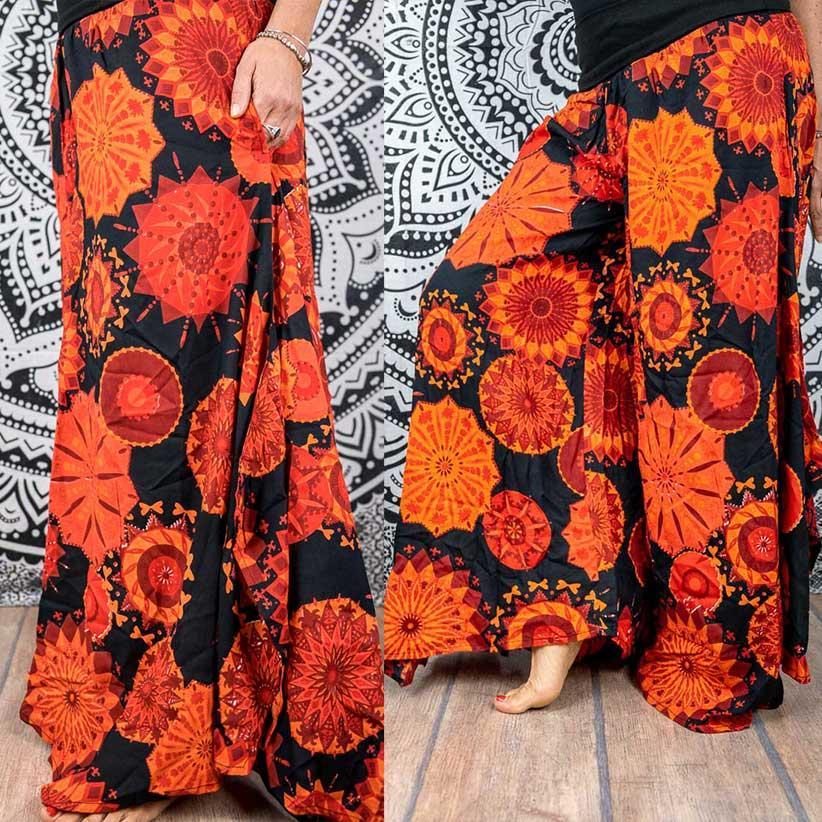 Pantalone donna Keertana zampa d'elefante - Rosso