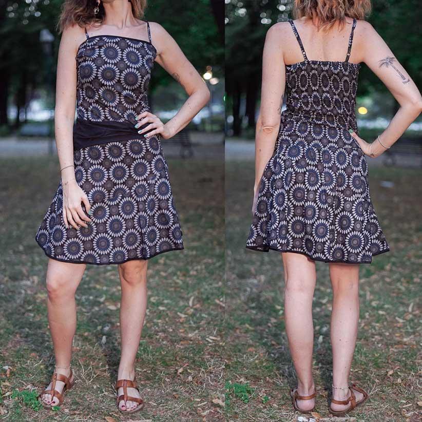 Short woman dress Sarika - Flowered blu & gray