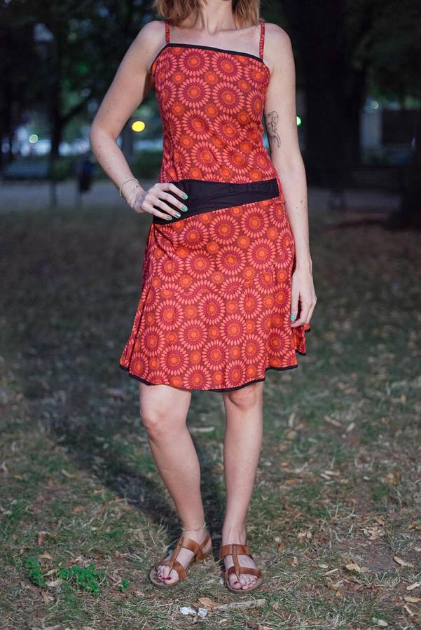 Vestito donna corto Sarika - fiorato rosso