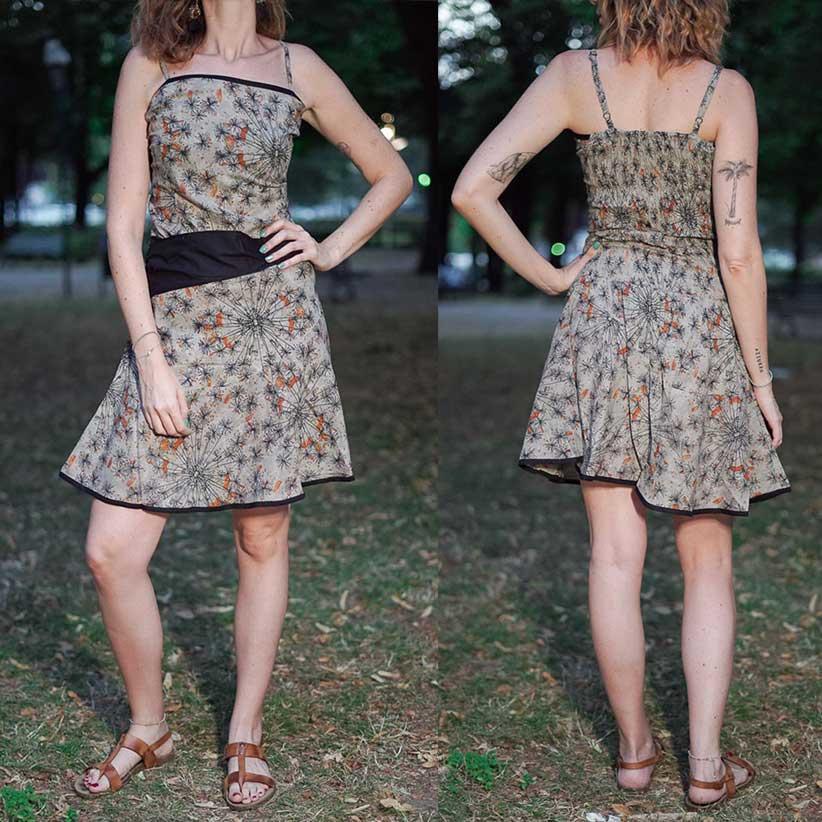 Short woman dress Sarika - gray orange
