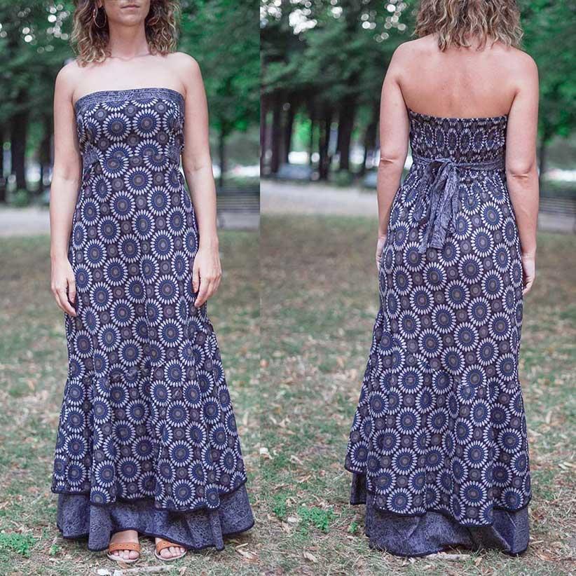 Women's dress Shanti - bicolor flower blu / gray
