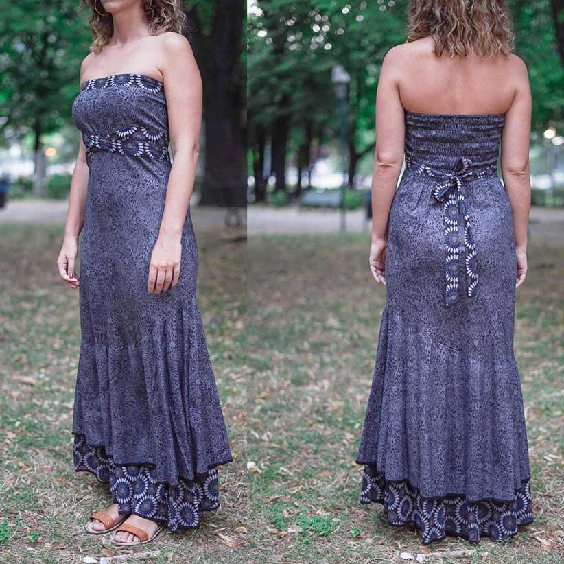 Women's dress Shanti - bicolor gray / flower blu