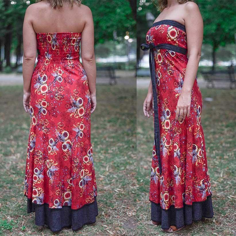 Vestito donna autoreggente Shanti - bicolor fiorato rosso / grigio scuro