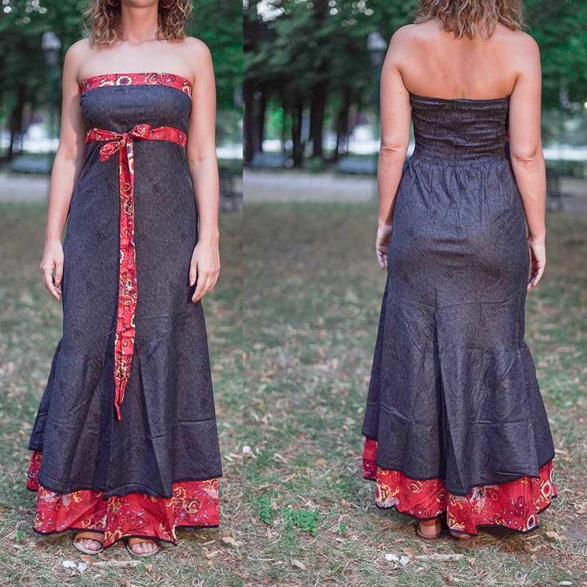 Vestido Shanti de mujer - bicolor gris oscuro / flor roja