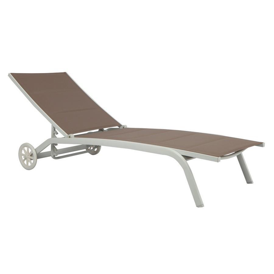 Lettino da giardino spiaggia in textilene con ruote in alluminio bianco sandy LUISA CLAT 51