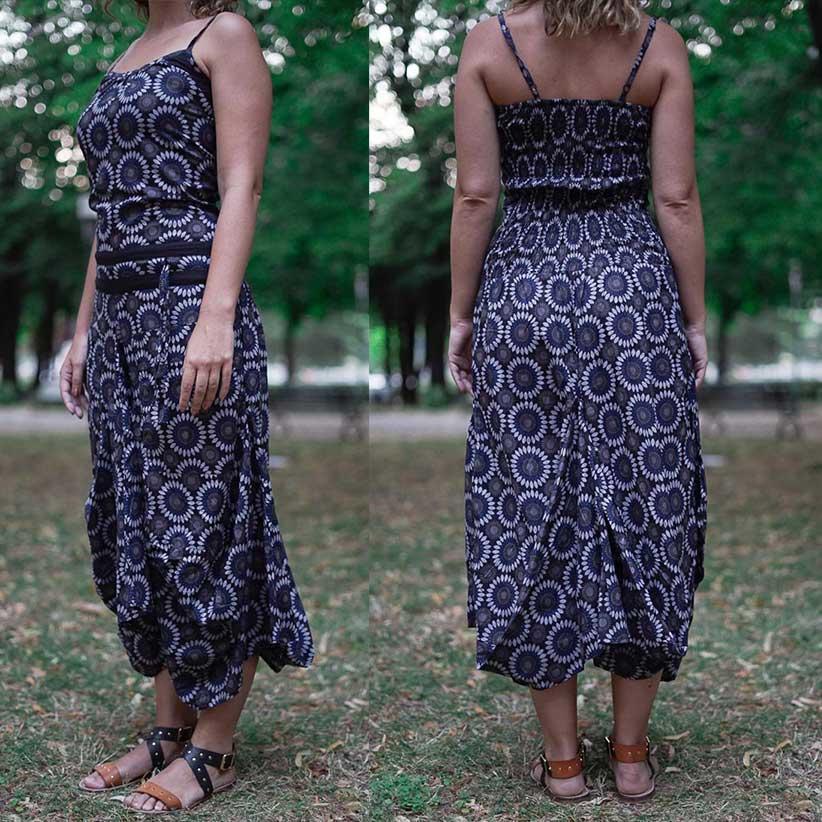 Long women dress Nandita with bag skirt - blue and gray flower