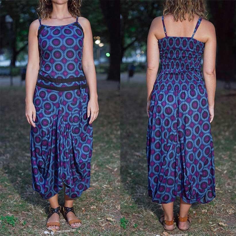 Vestido largo mujer Nandita con falda de saco - flores moradas azules