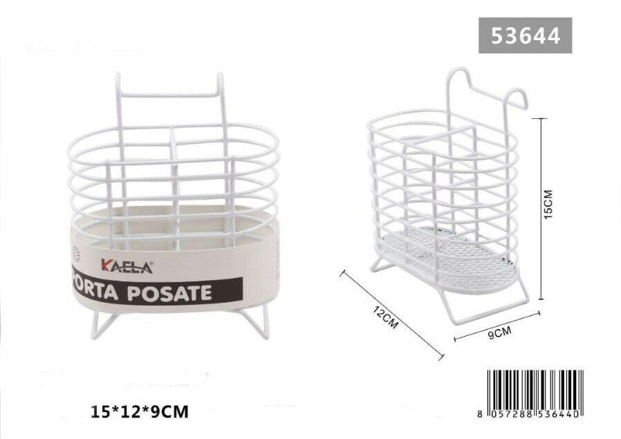 Portaposate Porta Posate da Cucina Forchette Coltelli Cucchiai Bianco o Nero