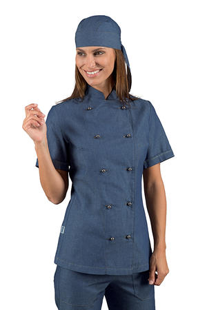 GIACCA CUOCA LADY CHEF JEANS IN 100% COTONE