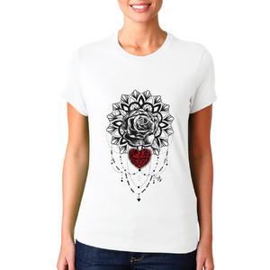 T-shirt Rosa mandala cuore/Donna