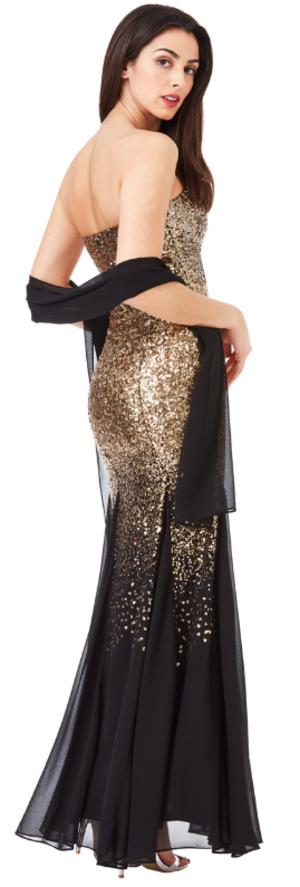 0618 BANDBAND DRESS IN SEQUINS AND LINED CHIFFON VARIOUS COLORS AVAILABLE