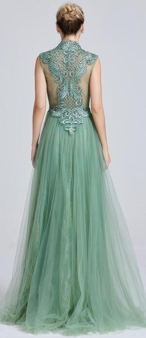 0650 SAGE GREEN TULLE DRESS WITH DOUBLE LINING AND BODY WITH RHINESTONES AND BEADS