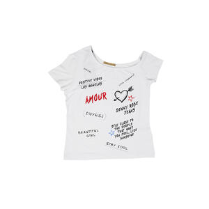 T-SHIRT DENNY ROSE ASIMMETRICA CON LETTERING