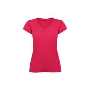 T-shirt donna scollo a V rosa orchidea colore 78 manica corta