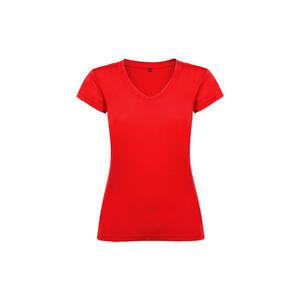 T-shirt donna scollo a V rosso colore 60 manica corta