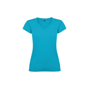 T-shirt donna scollo a V turchese colore 12 manica corta