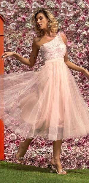 0721 WHEEL DRESS IN PINK TULLE LINED WITH TRANSPARENT PEARL BODY