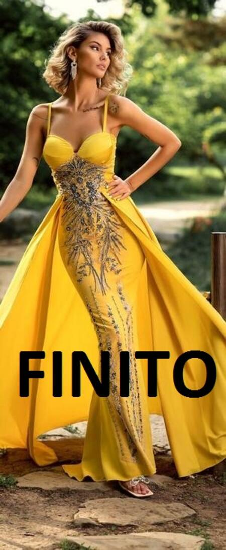 0723 OCHER YELLOW SATIN DRESS WITH RELIEF EMBROIDERY AND SKIRT PANEL
