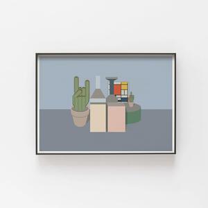 Mondrian in Morandi con cactus