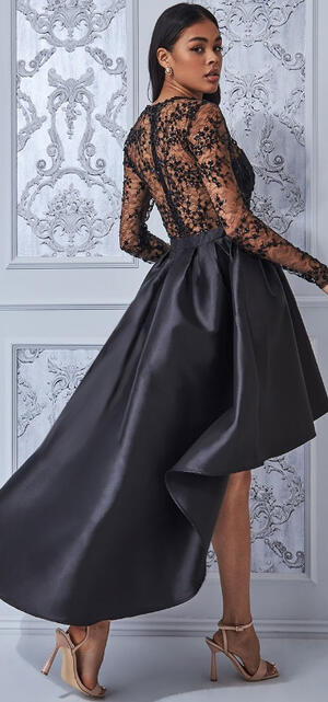 0754 LONG LONG DRESS IN EMBROIDERED SATIN AND TULLE
